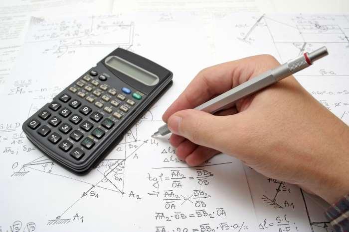 Student using A Calculator